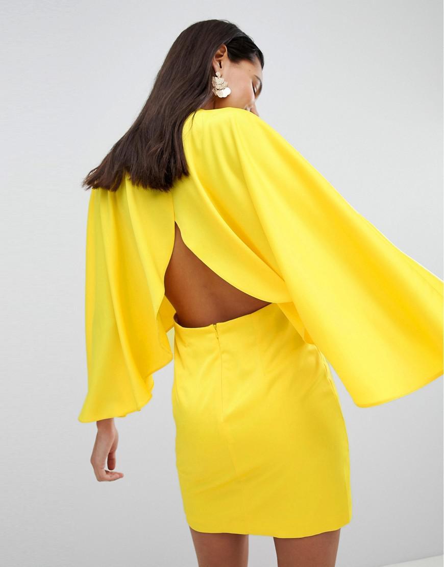 c073722554 Lyst - ASOS Asos Satin Cape Kimono Sleeve Deep Plunge Mini Dress in ...