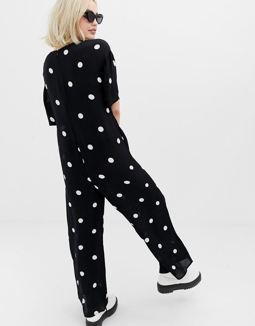 2dbae75ba5fa Collusion Oversized Jumpsuit In Polka Dot in Black - Lyst