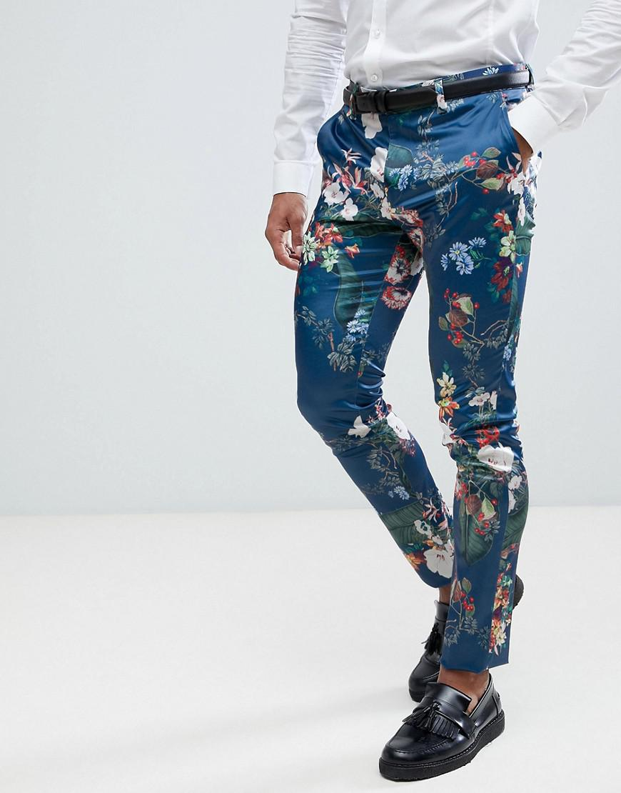 Lyst - Asos Super Skinny Suit Trousers In Blue Floral ...