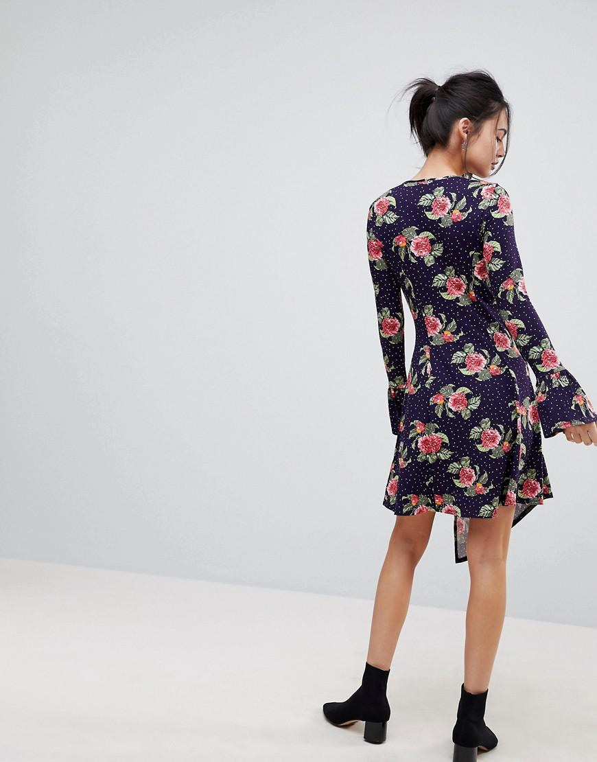 f51d7f84470628 Lyst - ASOS Asos Mini Dress With Hanky Hem And Frill Cuff In Spot Floral  Print in Blue