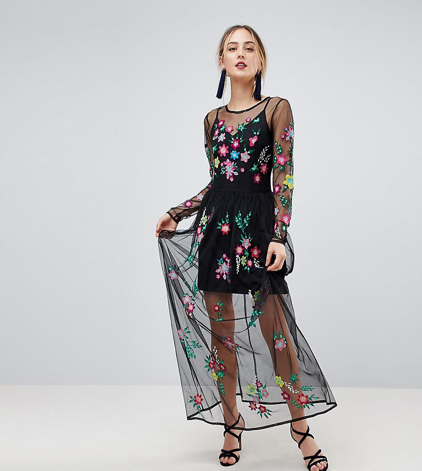 2425d465b27 ... Asos Us  Asos Premium Mesh Maxi Dress With Floral Embroidery