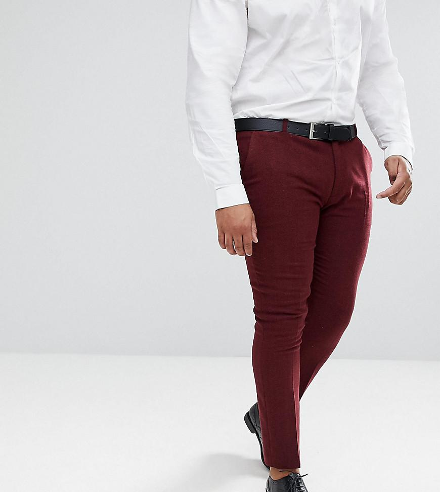 PLUS Wedding Super Skinny Suit Trousers In Wine Herringbone - Burgundy Asos div04
