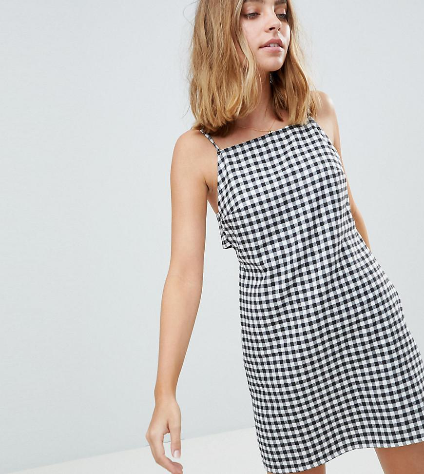 451c2867a44 Lyst - ASOS Linen High Neck Tab Side Mini Dress In Gingham in Blue