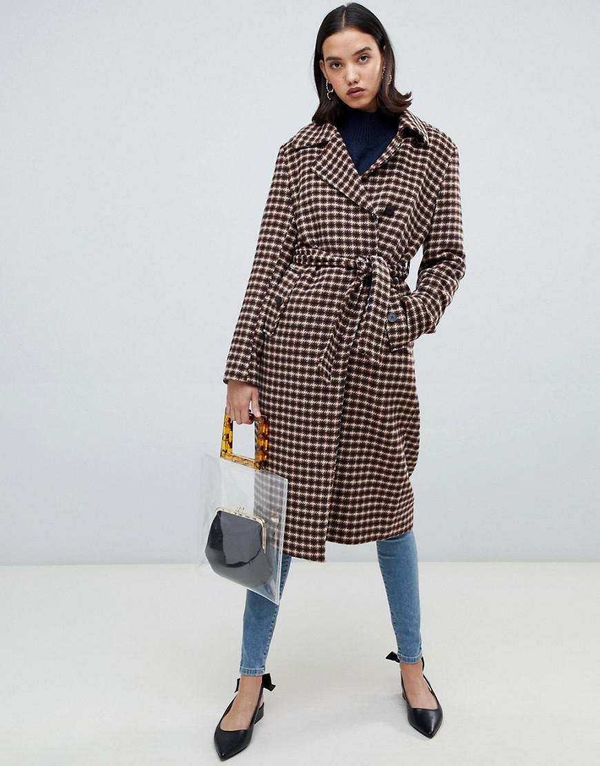 SELECTED. Women s Femme Check Wool Wrap Coat 80dbe1a77dc