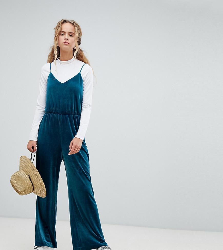 abeea0f1aef Weekday Velvet Cami Jumpsuit In Petrol Blue in Blue - Lyst