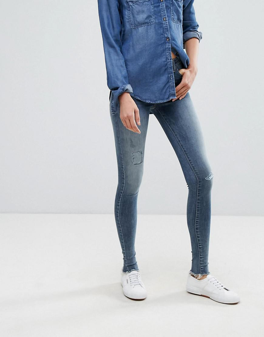 Cropped Distressed Stretch Jeans - Blue Esprit UDSSK1z