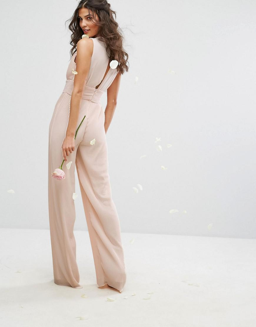 Lyst Tfnc London Wedding Pleated Wide Leg Jumpsuit With Lace