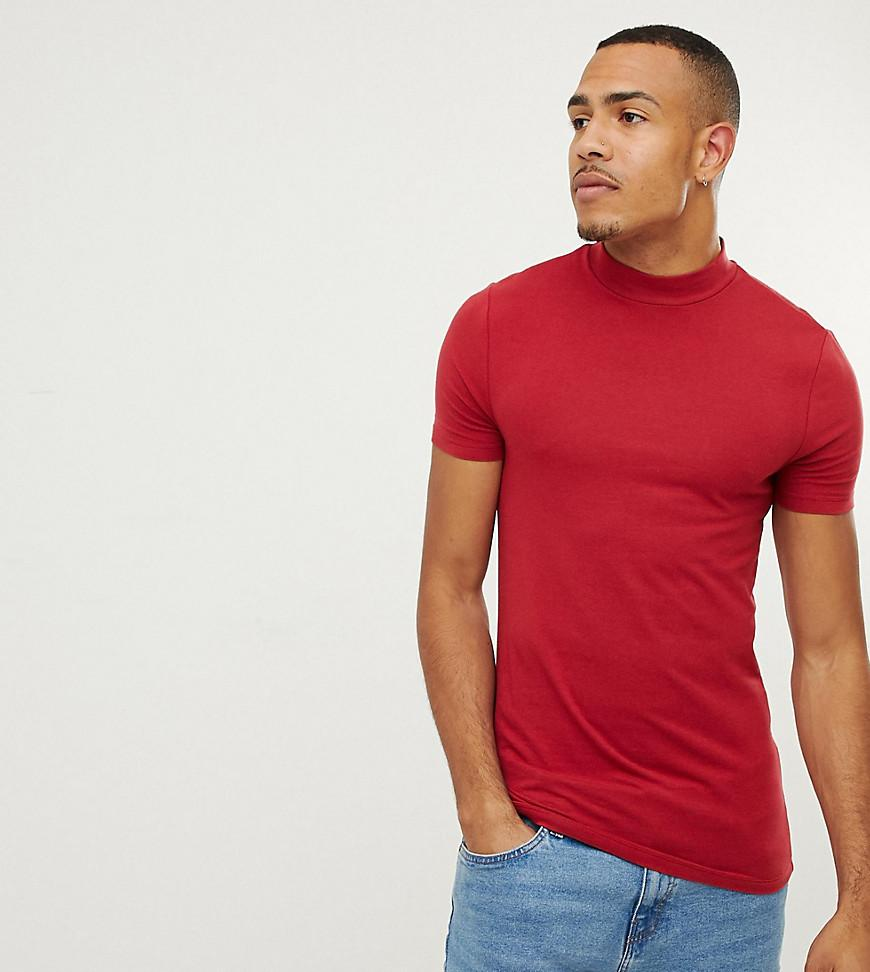 fa3cf52c ASOS Tall Muscle Fit Turtle Neck T-shirt With Stretch In Red in Red ...
