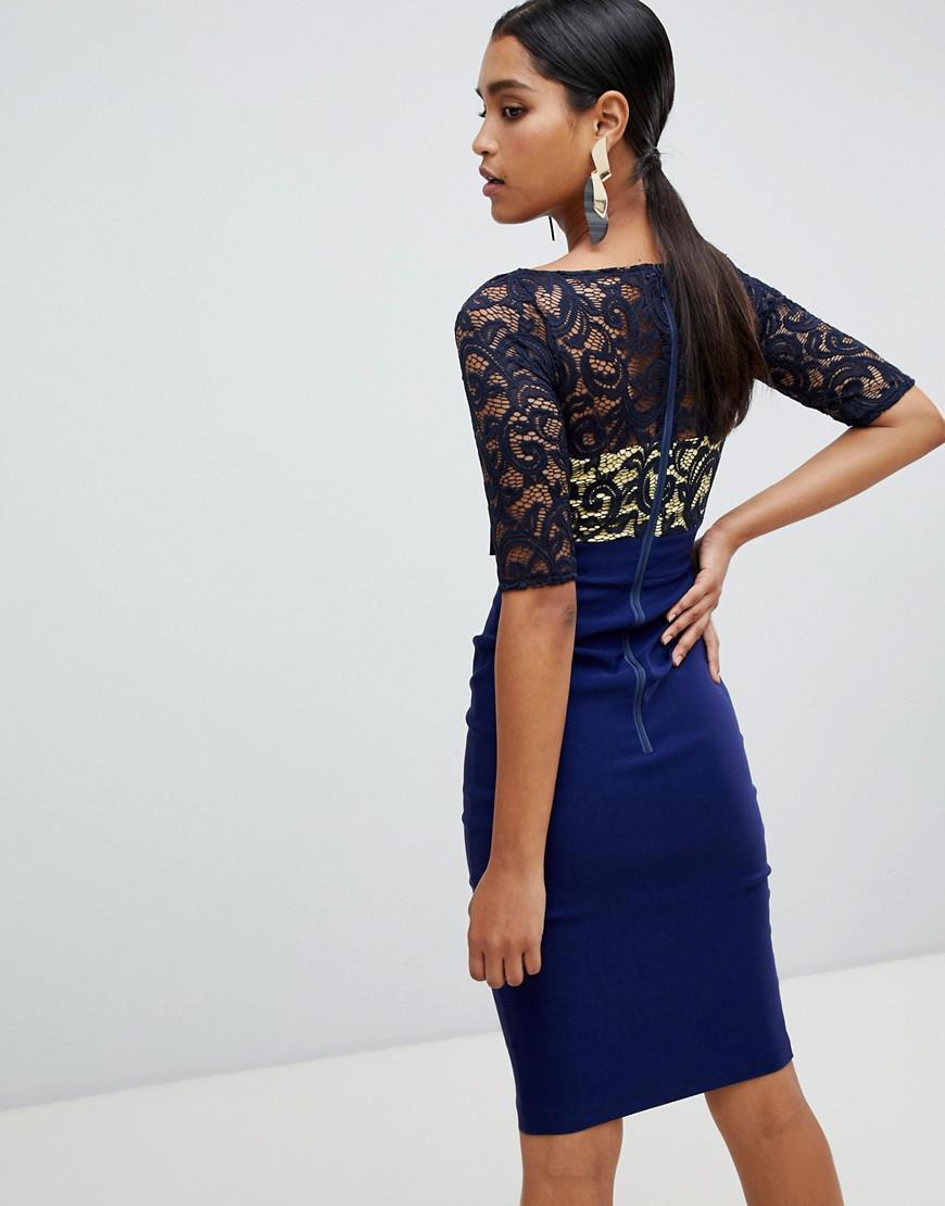 c822e1abcd Vesper Lace Top 3 4 Sleeve Pencil Dress in Blue - Lyst