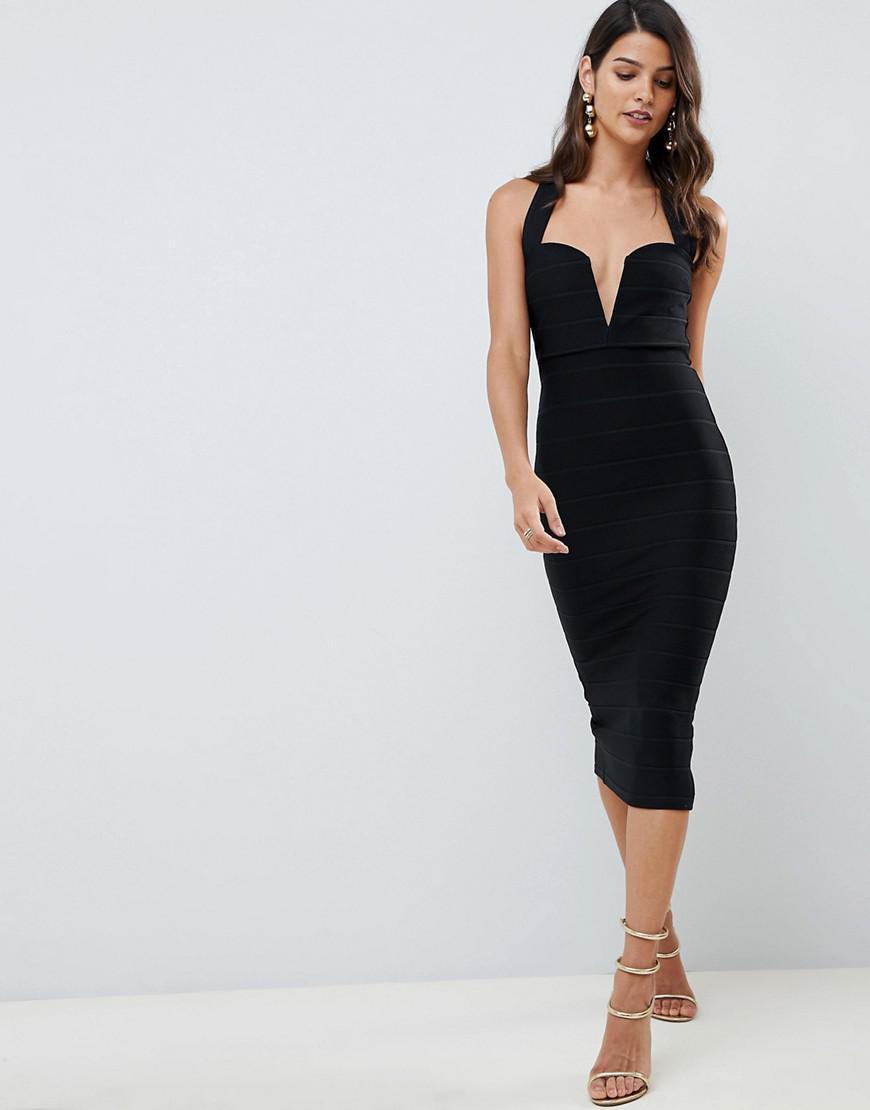 d03326451d92c ASOS V Bar Bandage Midi Bodycon Dress in Black - Lyst