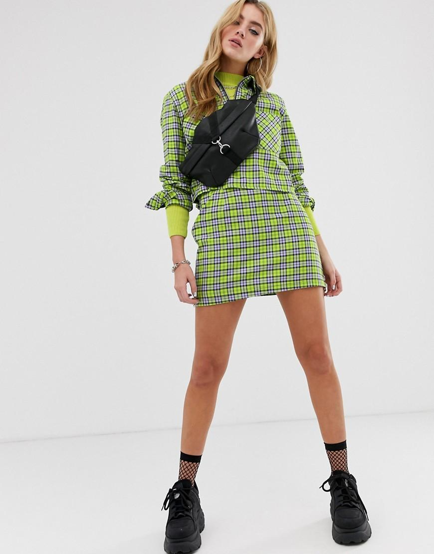 49d5b61ba18e The Ragged Priest Mini Skirt In Check Co-ord in Green - Lyst