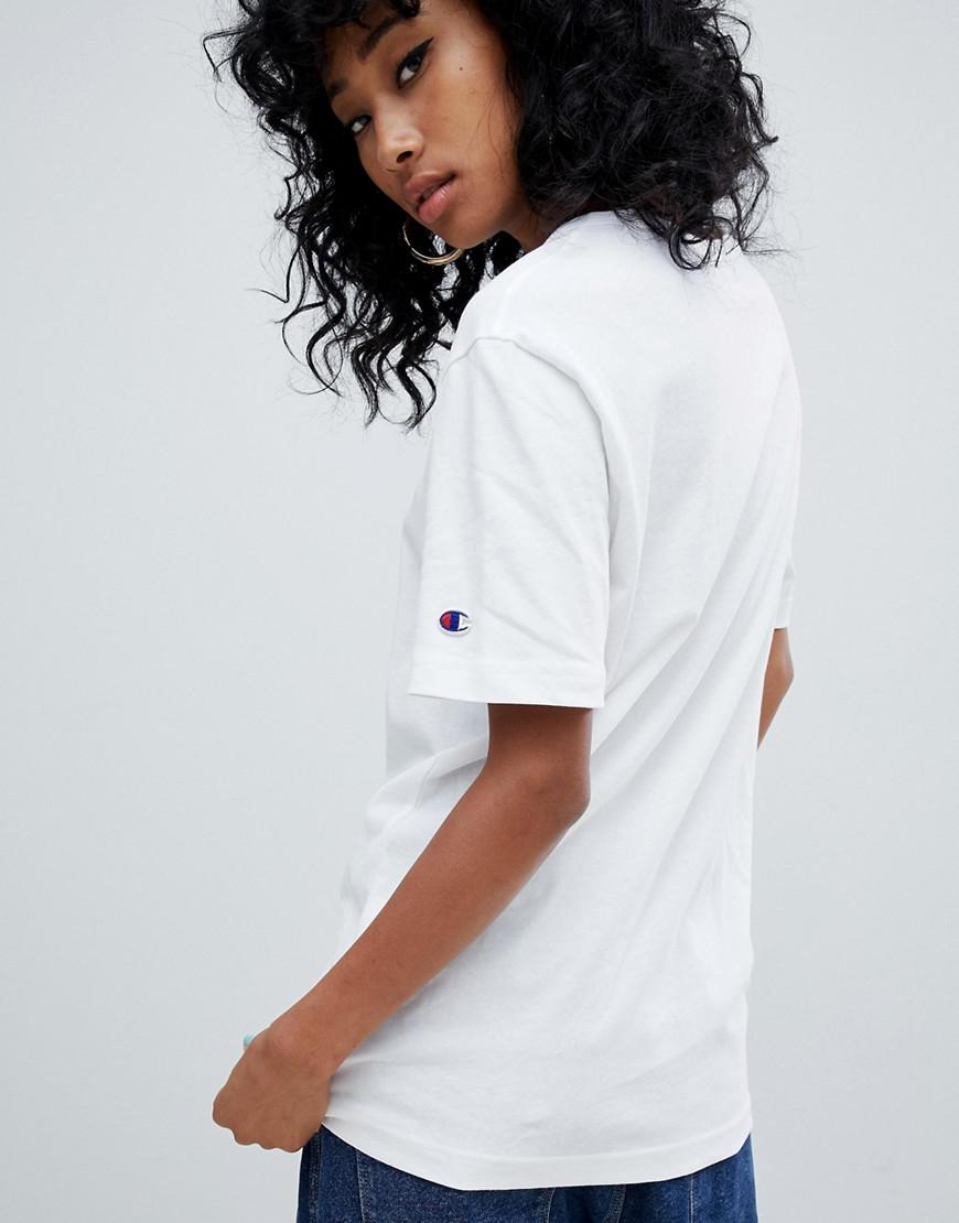 e37eb770 Champion Oversized T-shirt With Front Logo in White - Save 11% - Lyst