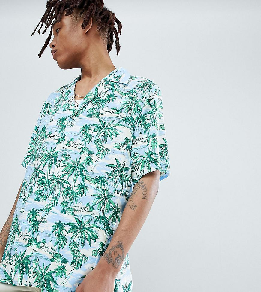 d4bcbc04 Reclaimed (vintage). Men's Green Inspired Revere Collar Printed Hawaiian  Shirt