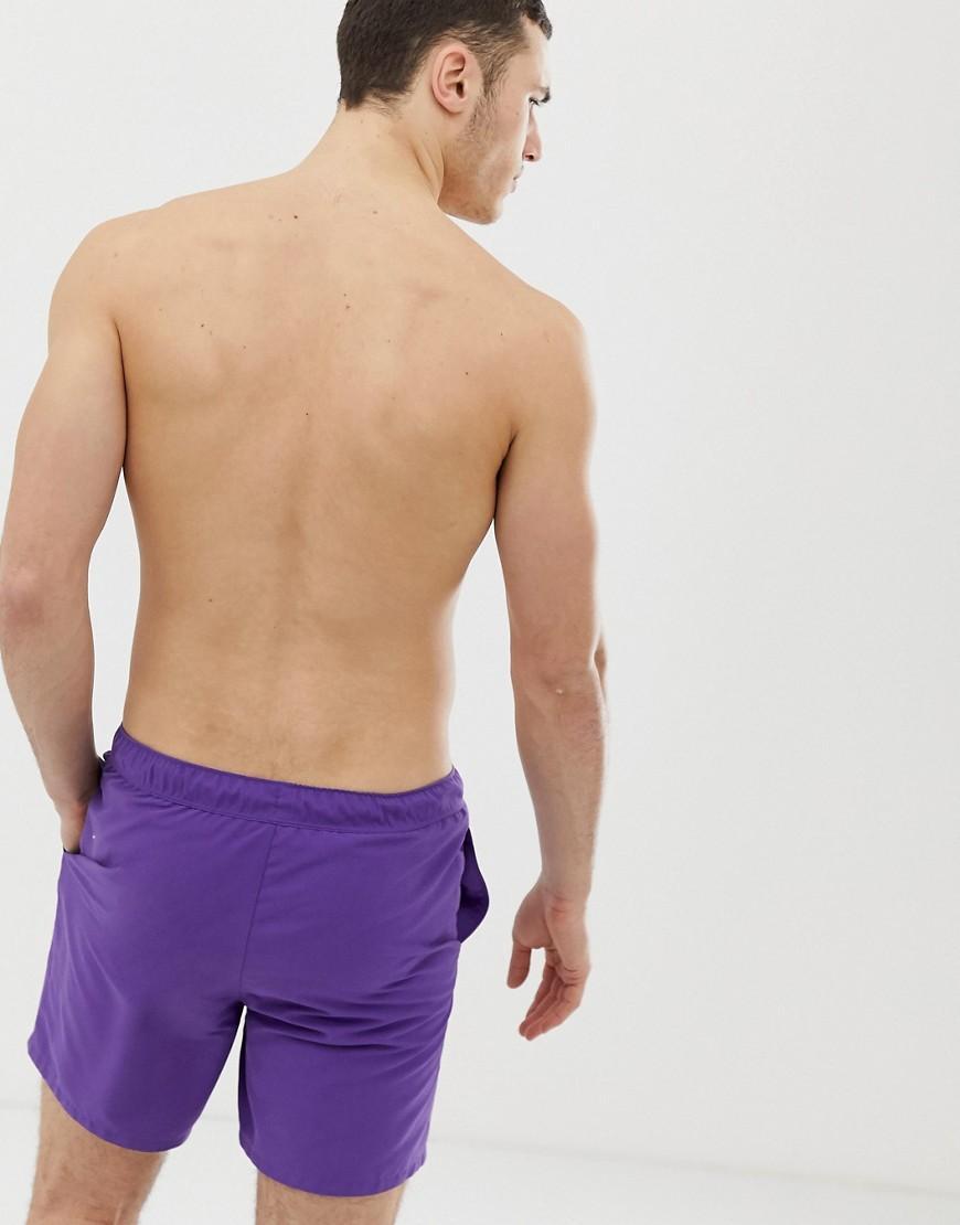 713bc058c6 ASOS Swim Shorts In Bright Purple Mid Length in Purple for Men - Lyst