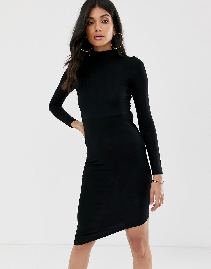 f2126d96f54 Lyst - ASOS Asos Design Tall Long Sleeve Extreme Open Back Mini Bodycon  Dress in Black