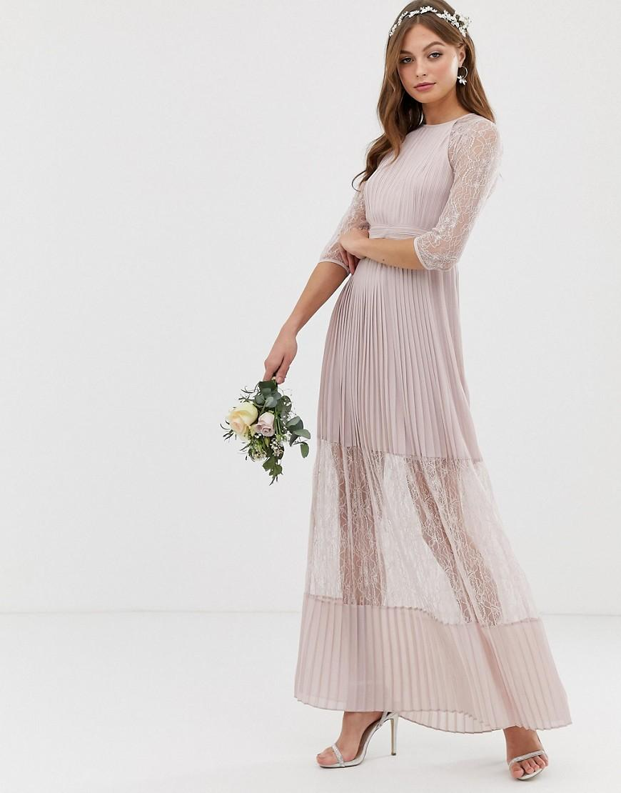 516d6c81713 Lyst - TFNC London Bridesmaid Exclusive Pleated Maxi Dress With Lace ...
