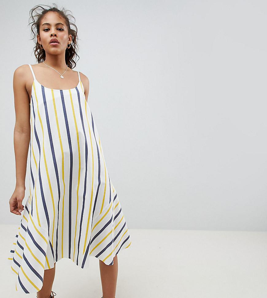 ASOS DESIGN Curve Stripe Swing Trapeze Midi Sundress With Lace Up Back - Multi Asos Curve