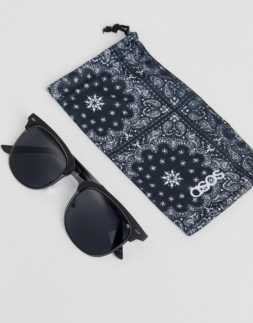 68aa5ae9ea6a4 Lyst - Gafas de sol de estilo retro en gris plomo y negro mate de ...
