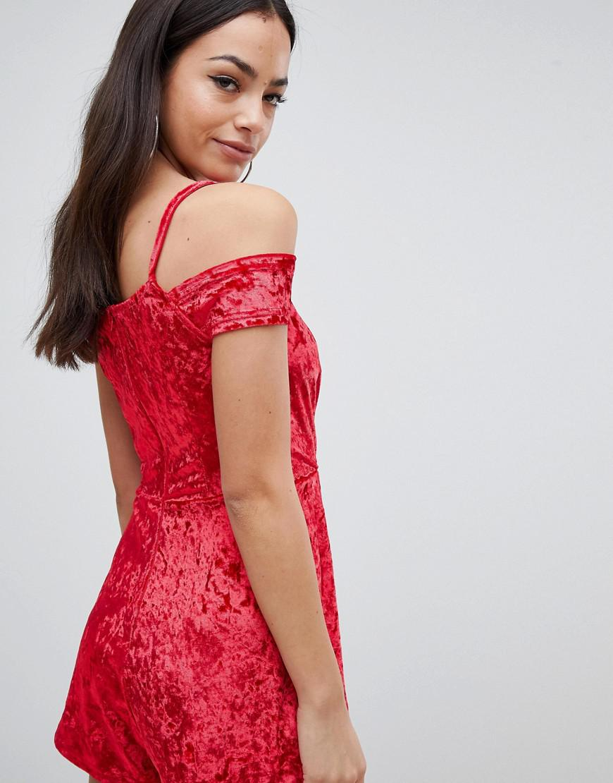 2e440ee7281 AX Paris Velvet Playsuit in Red - Lyst