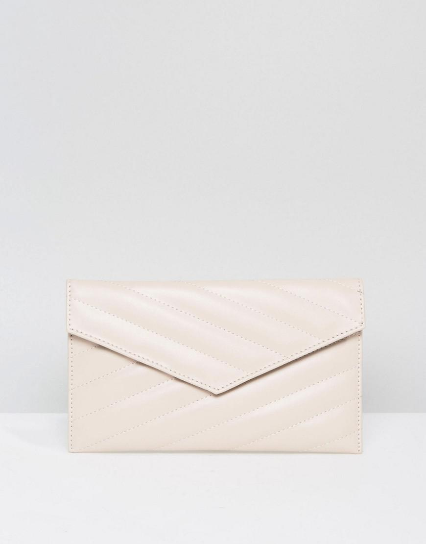 DESIGN bamboo square boxy clutch bag - Stone Asos oUC55b