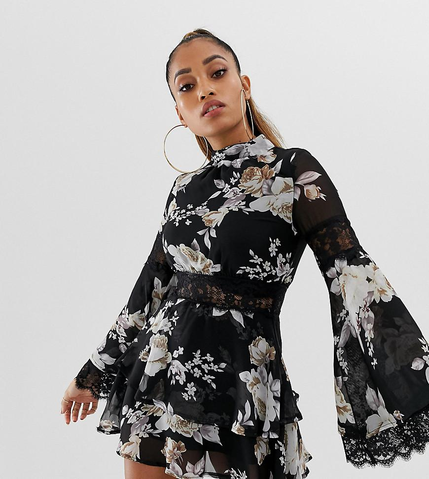 338f1585a Missguided High Neck Lace Insert Chiffon Mini Dress In Black Floral ...