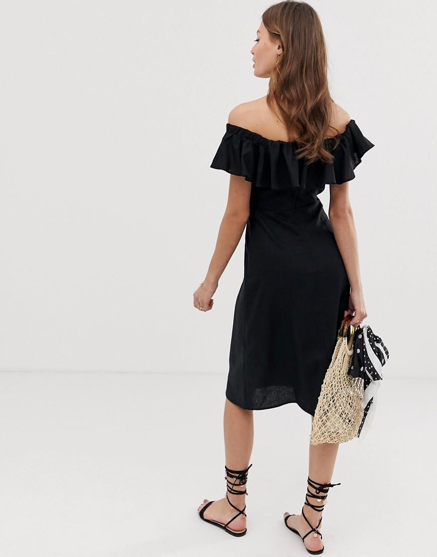 985c6257db14ea Lyst - ASOS Linen Bardot Midi Dress in Black