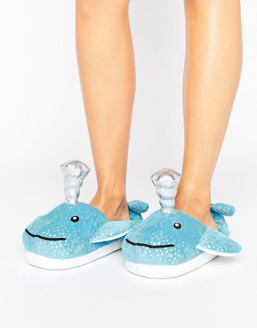 Women ASOS NESSIE Whale Slippers Blue Sale