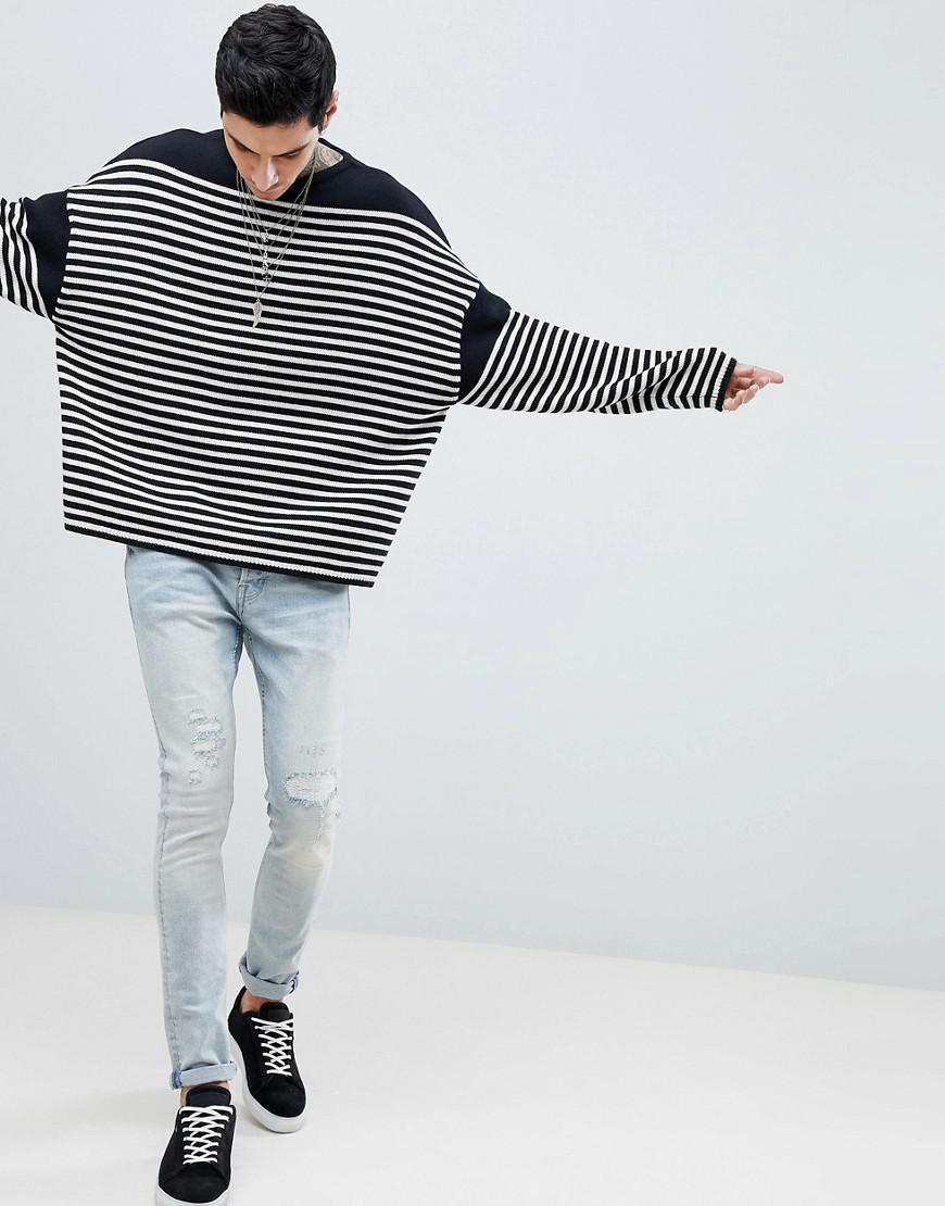 aa4a69912 Lyst - AllSaints Oversized Jumper With Breton Stripe in White for Men