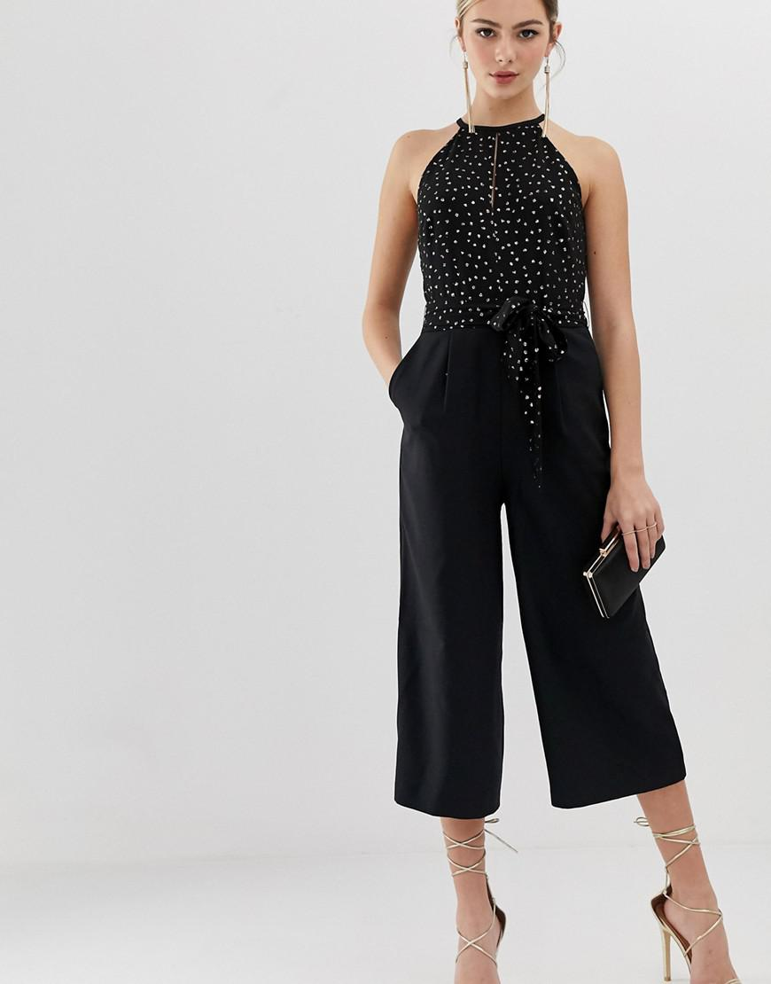 1e8a4c5e0ce Lyst - Oasis Jumpsuit With Glitter Dots In Black in Black
