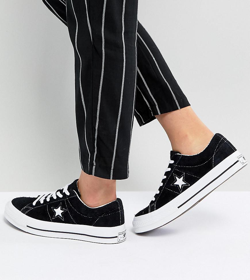 097b0b02fe1d40 Converse One Star Ox Trainers In Black in Black - Lyst