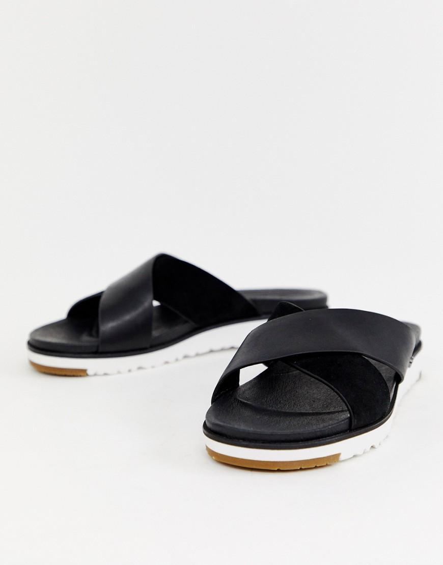 170fa525b55d UGG Kari Cross Strap Slides In Black in Black - Lyst