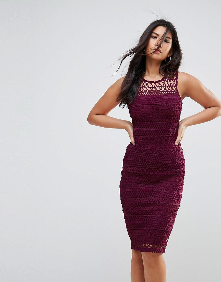 d5727ee7eb Lyst - AX Paris Crochet Lace Midi Dress With Scuba Back in Purple