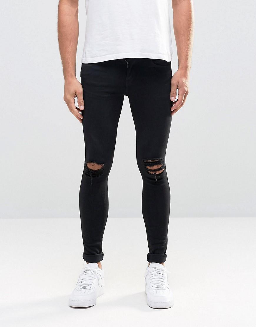 dr denim dixy extreme super skinny jeans black ripped. Black Bedroom Furniture Sets. Home Design Ideas