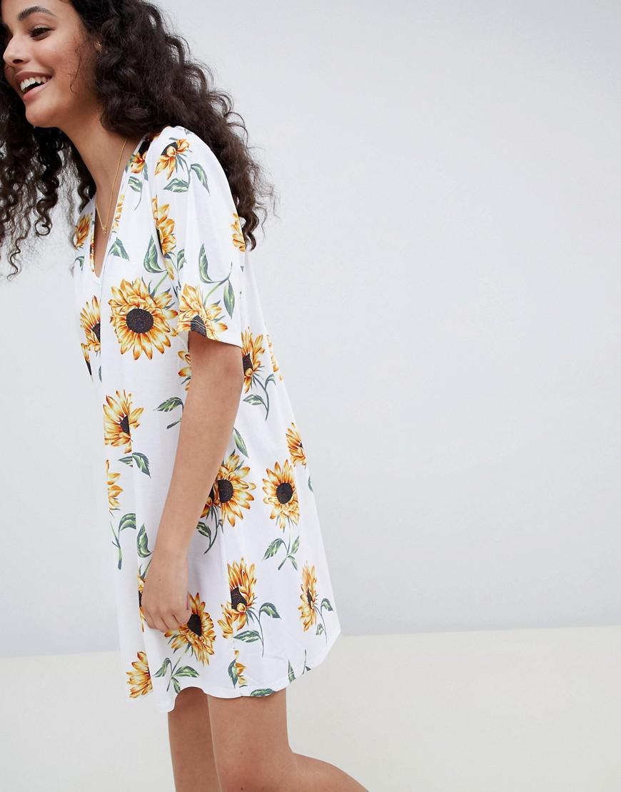 357f0d46ef7 Lyst - ASOS Sunflower Print V Neck Swing Dress