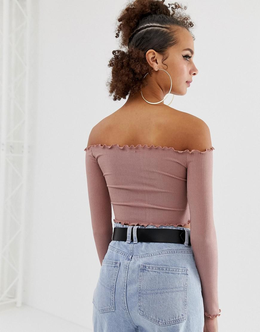 e5a0a96ee035f Lyst - Collusion Ribbed Off Shoulder Top in Pink