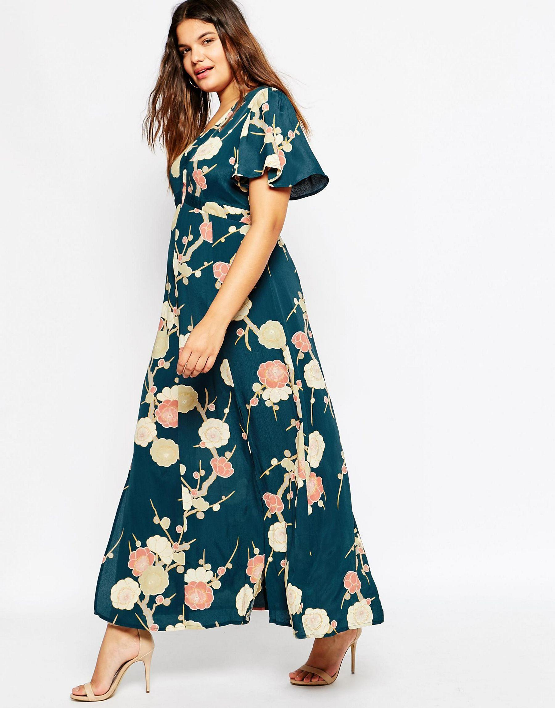 f8007260e5def Lyst - ASOS Curve Wedding Maxi Dress In Blossom Floral Print in Green