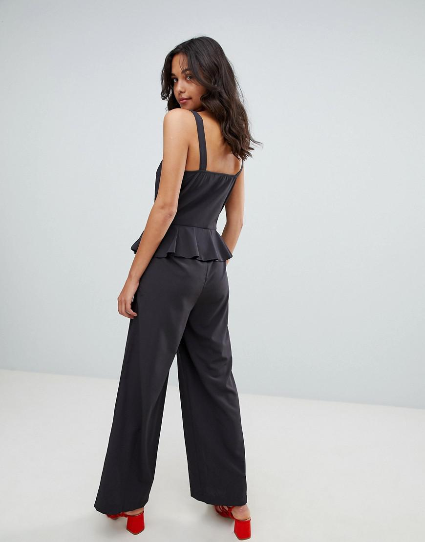 217f15c025d2 Lyst - Vila Cami Jumpsuit With Ruffle Detail in Black