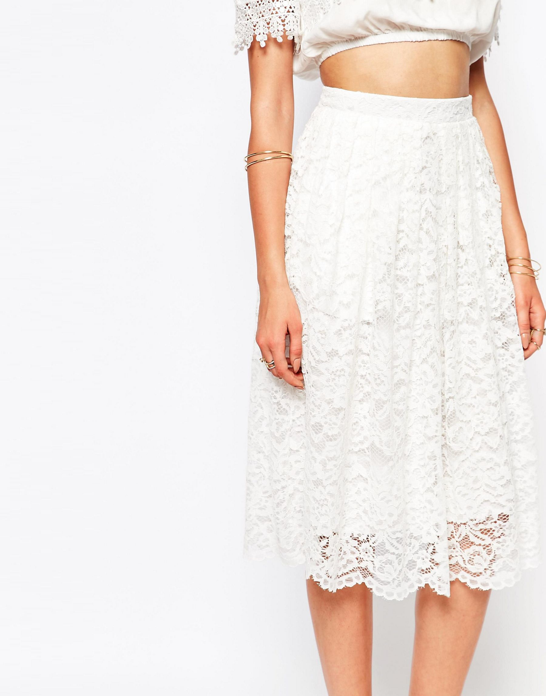 missguided premium lace midi skirt in white lyst