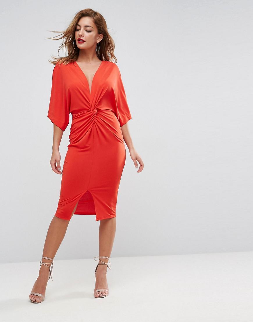 472e2da245d Lyst - ASOS Multiway Plunge Knot Midi Dress in Orange