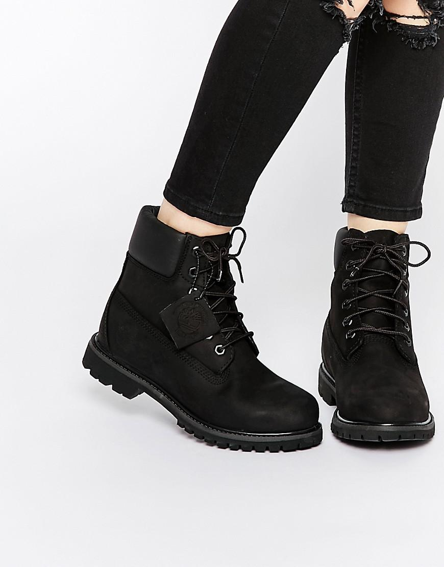 Timberland Womens 6 Inch Premium Lace Up Flat Bootsw Black - Boots