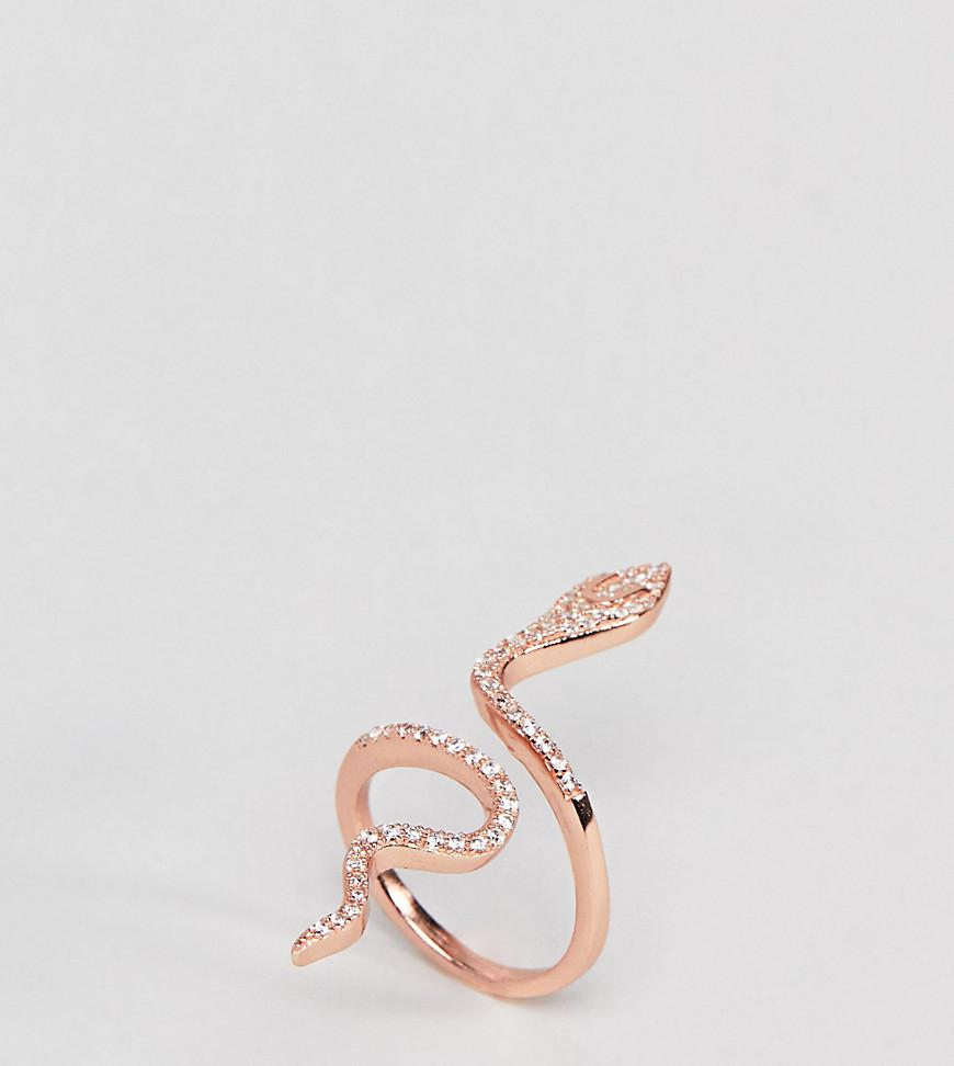 Sterling Silver 18K Rose Gold Plated Large Snake Pave Ring - Rose gold Shashi eDkfvq