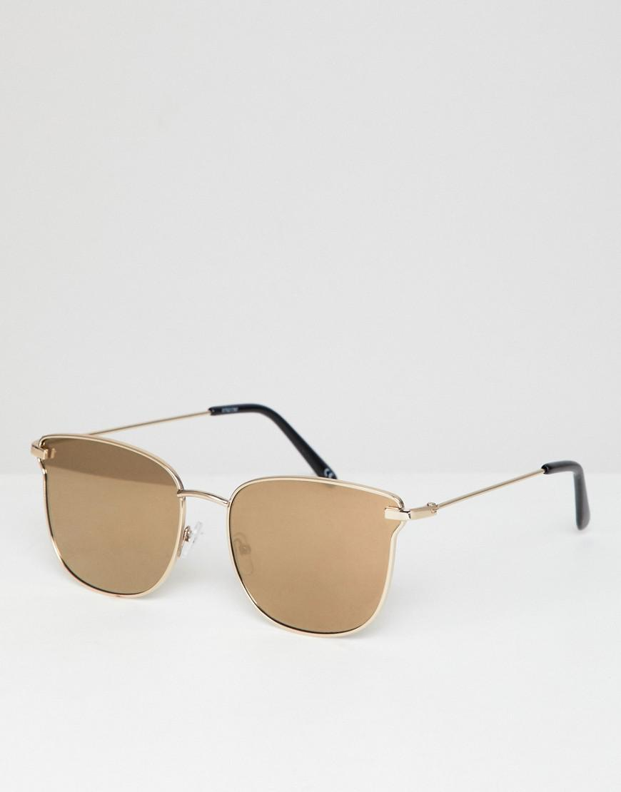 4e262c7f21694 ASOS Angled Glasses In Shiny Gold With Gold Mirror Lens in Metallic ...