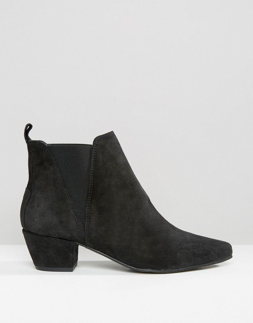 warehouse suede low heeled chelsea boot in black lyst