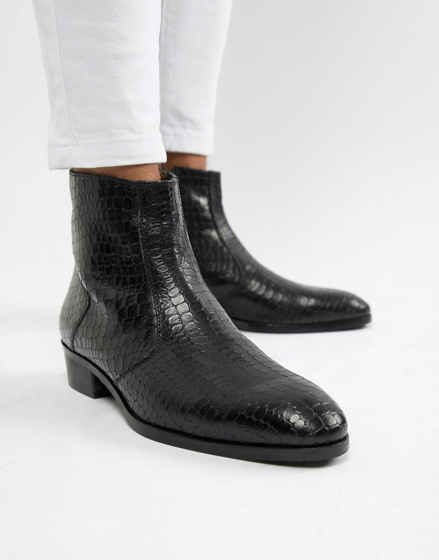 a2cf24624 Dune Cuban Heel Chelsea Boots In Black Croc in Black for Men - Lyst