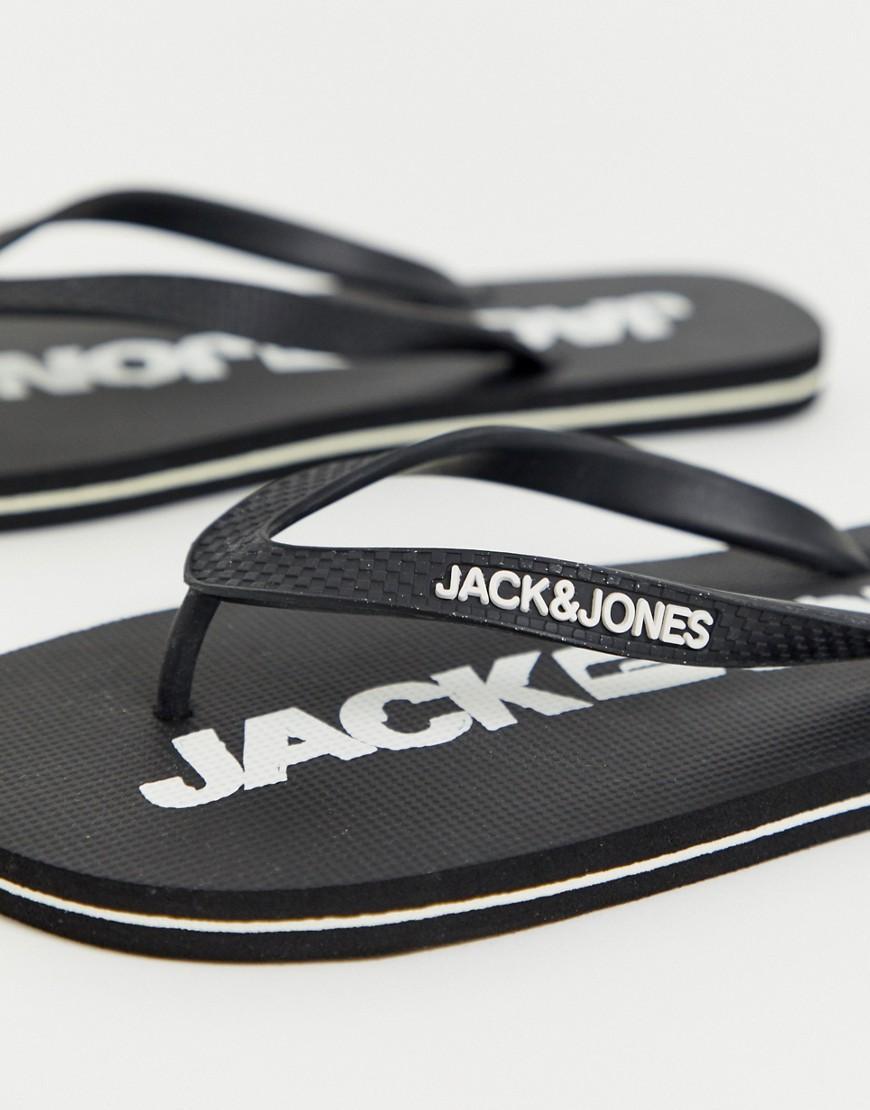 3abb29c8adb Jack   Jones Flip Flops With Branded Sole In Monochrome in Black for Men -  Lyst