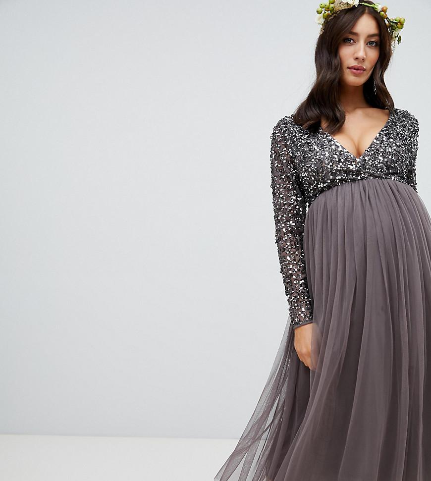 4f76049076f Maya Maternity. Women s Gray Long Sleeve Wrap Front Midi Dress With  Delicate Sequin And Tulle ...