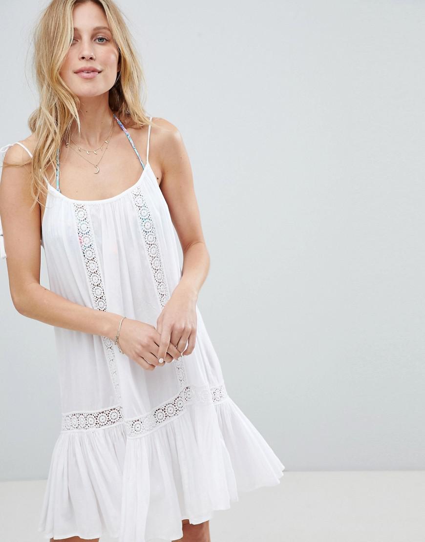 0db2e29e23f Accessorize Lace Insert Strappy Beach Dress in White - Lyst