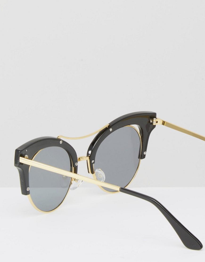 Half Frame Cat Glasses : 7x Half Frame Cat Eye Sunglasses in Black (Blackgold) Lyst