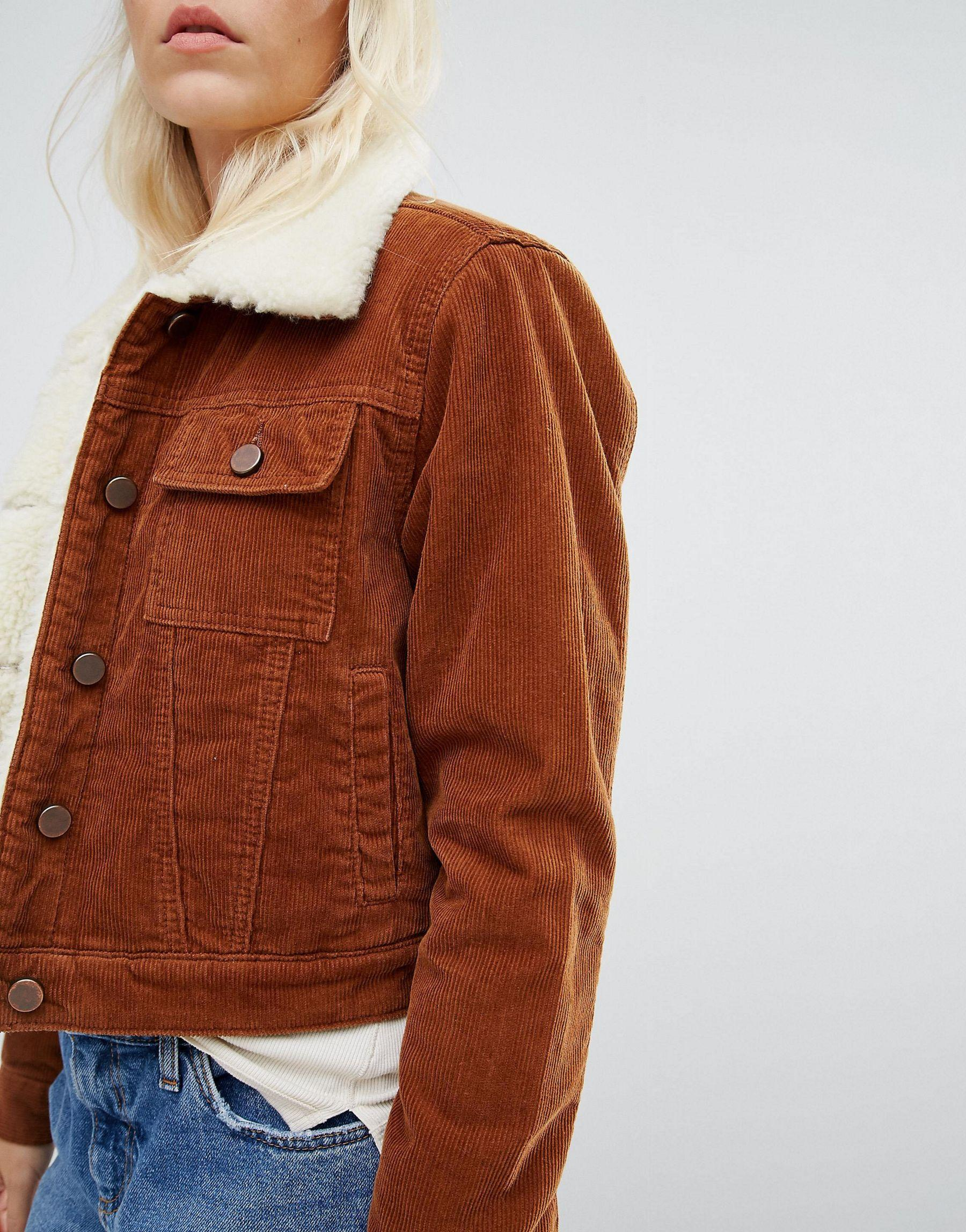 Asos Faux Shearling Lined Corduroy Jacket In Brown Lyst