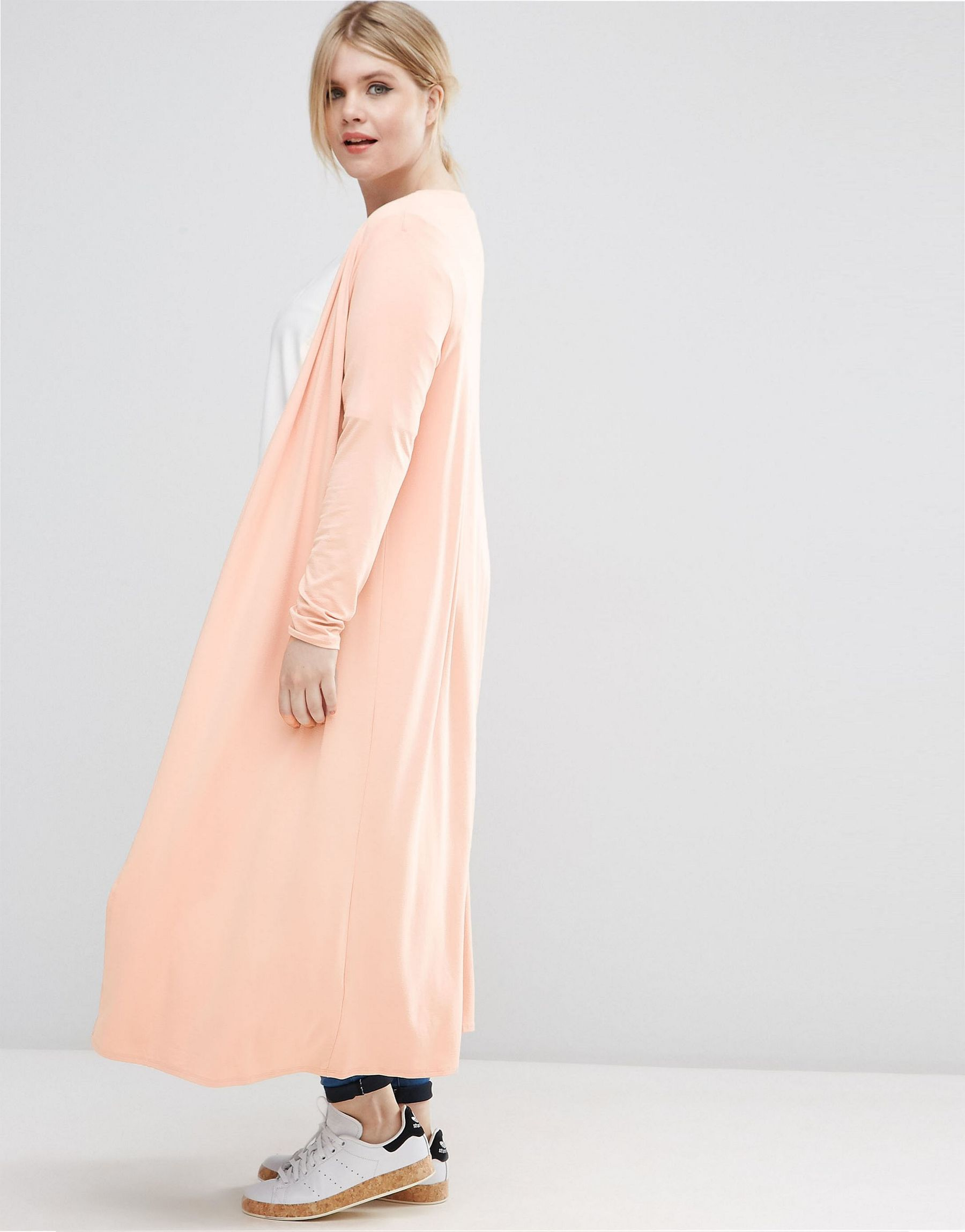 Asos Curve Longline Maxi Cardigan in Pink   Lyst